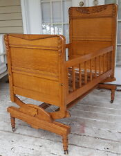 Antique Tiger Oak Baby Cradle