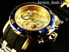 Invicta Men Scuba Pro Diver Swiss Chrono 18K Gold Plated Champagne Dial SS Watch