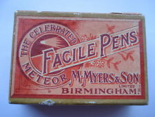 VINTAGE M.MYERS&SON THE CELEBRATED METEOR FACILE No3165 BRONZE EF PEN NIBS BOX