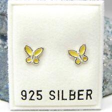 Neu 925 SILBER Ohrstecker SCHMETTERLING in Gelb OHRRINGE Butterfly Earring