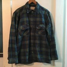 Vintage 60s Penneys Towncraft Shirt Shadow Plaid medium Rockabilly loop collar