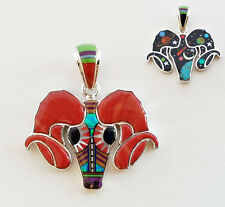 REVERSIBLE TURQUOISE MULTICOLOR CELESTIAL OPAL INLAY .925 SILVER RAM PENDANT