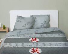 """parure de lit housse de couette + taies 2 personnes """"asie gris/rouge"""" - neuve"""