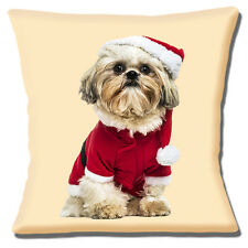 "NEW CUTE SHIH TZU SANTA HAT AND COAT CHRISTMAS ON CREAM 16"" Pillow Cushion Cover"