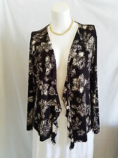 Chicos Travelers 3 XL Open Front Ruffle Top Jacket Black White Floral Slinky