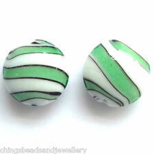 10 Green Lampwork Glass 20mm Disc Beads