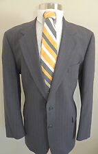 MENS BROOKS BROTHERS CHARCOAL GRAY PINSTRIPE WOOL BLEND 2 BUTTON SPORT COAT 44R
