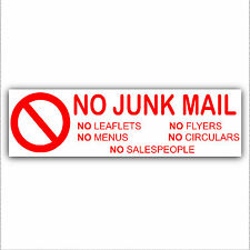 No Junk Mail,Leaflets,Menus,Flyers,Circulars,Salespeople-Letterbox Sticker Sign