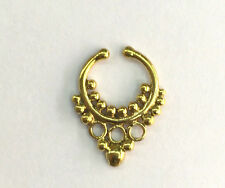 ORNATE DESIGN  BRASS HANGING FAKE SEPTUM SMALL 7.5MM RING DIAMETER NOSE AFGHAN