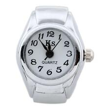 Unisex Alloy Round Quartz Stretch Band Finger Ring Watch White Dial