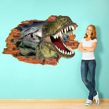 Removable 3D Dinosaur Rush Kids Boy Bedroom Wall Paper Vinyl Sticker Mural Art