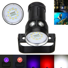 Diving Photography 12000LM 10x XM-L2+4xRot+4xLila LED Tauche Tauchlampe bis 100m
