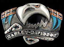 Vtg Rare Harley Davidson Eagle Southwestern H557 Brass Belt Buckle Baron 1993