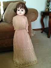 "Antique 32"" Paper Mache Glass Brown Eyes 1880's German ""Patent Washable"" Doll"