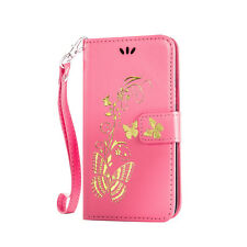 Gold Butterfly Wallet Leather Flip Case Cover For Samsung Galaxy Mobile Phone