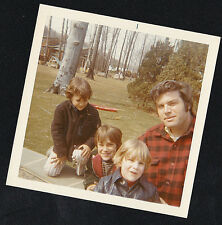 Vintage Photograph Dad With Three Cute Little Boys In the Backyard / Park