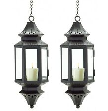2 Hanging Metal Candle Lanterns Clear Glass NEW
