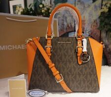 NWT MICHAEL KORS CIARA MK Sig LARGE Messenger Bag BRN/TANGERINE PVC/Leather $398