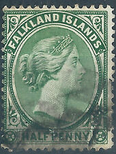 Falkland Islands.1891/02. Used. SG 16b 1/2d Deep dull green. cv£30.(G504)