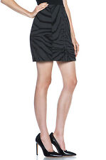 CARVEN $438 black zebra print wool cashmere structured mini skirt 38-FR/6-US NEW