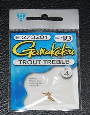 4 Pack Gamakatsu 273201 Trout Bait Treble Hook Gold - Size 18 Super Small Sharp