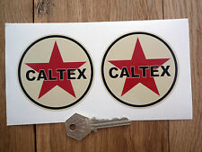 "CALTEX Black & Beige Classic Car STICKERS 3"" Vintage Petrol Retro Hot Rod Custom"