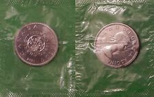 1964 Canada Centennial Silver 1 Dollar Sealed in Cellophane Cut From Mint Set