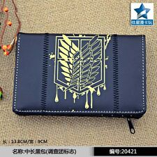 Scout Regiment Multilayer PU Black Wallet/Anime Attack On Titan Purse