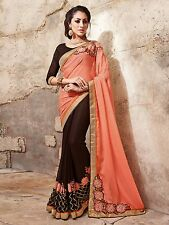 Brown Color Georgette-Chiffon Embroidered Saree With Blouse Piece HIIMX-6065