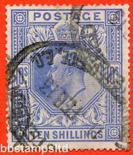 SG. 319. M54 (2). 10/- Blue. A good used example of this scarce Edward VII.