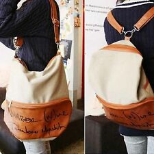 Women Backpack #V Girl Bookbag Canvas Shoulder Bag Travel Rucksack Dual Use Bag