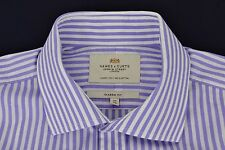 "HAWES & CURTIS Purple White Striped Shirt 16"" / 34"" Luxury 2 Ply 100s Cotton"