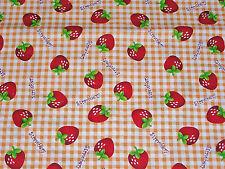 Tissu large 115 cm au mètre fraises 100% coton