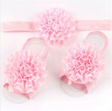 1set /3Pcs  Baby Infant Headband Foot Flower Elastic Hair Band Accessories Pink