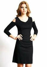 New Nue by Shani Size 16 Knit Cold Shoulder Dress Black Built in Shapewear