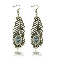 Women Vintage Bronze Peacock Feather Rhinestone Dangle  Hook Earrings