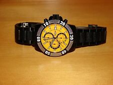 Invicta Yellow Dial Gunmetal Stainless Chronograph Men's Watch