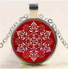 Elegant Snowflake Christmas Cabochon Glass Tibet Silver Chain Pendant Necklace