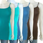 Women Basic Stretch Spaghetti Strap Long Tank Top Cami/Camisole