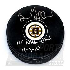 Brad Marchand Boston Bruins Signed Autographed 1st NHL Goal Inscribed Puck