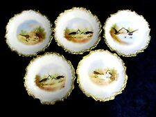 Lot of 5 Antique AKCD Limoges France Gilded Hand Painted Game Bird Plates