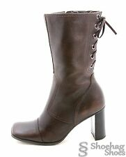 Nine West Womens Boots 6 M Genuine Western Leather Hipster Lace Zip Up Dress EUC