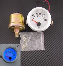 """DC12V Silver 2"""" 52mm Vehicle Blue LED Oil Pressure Meter Gauge & Sensor For Ford"""