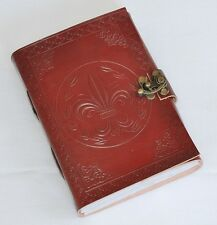 Handmade Fleur De Lis Tooled Leather Blank Journal Diary Notebook Book (588)