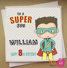Personalised Birthday Card 'Superhero' boys 6th, 7th, 8th Son, Nephew, Brother