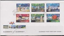 GB - Elements of GUERNSEY 2004 Europa/Holidays SG 1032/7 FDC LIGHTHOUSES FLOWERS