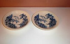 """(2) Johnson Brothers Blue Saucers """"CASTLE ON THE LAKE """" Made in England"""