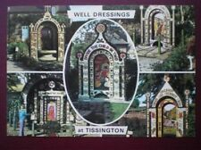 POSTCARD DERBYSHIRE TISSINGTON WELL DRESSINGS - HANDS - TOWN - COFFIN - YEW TREE