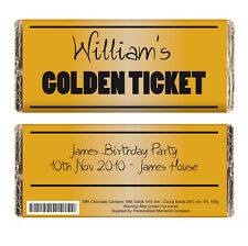 PERSONALISED GOLDEN TICKET CHOCOLATE BAR GIFT Willy Wonka Party Invitation Idea