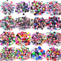 320pcs 16style Wholesale Lots Mixed 316L UV Barbell Piercing Button Body Jewelry